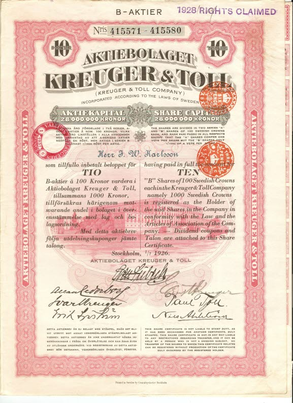 Securities from the limited company Kreuger & Toll