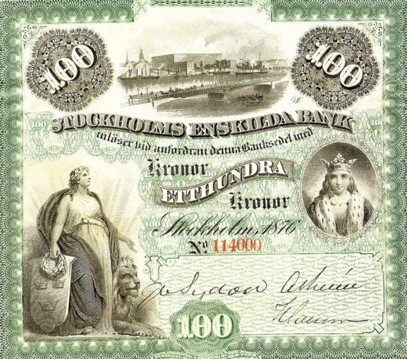 Banknote issued by Stockholms Enskilda Bank