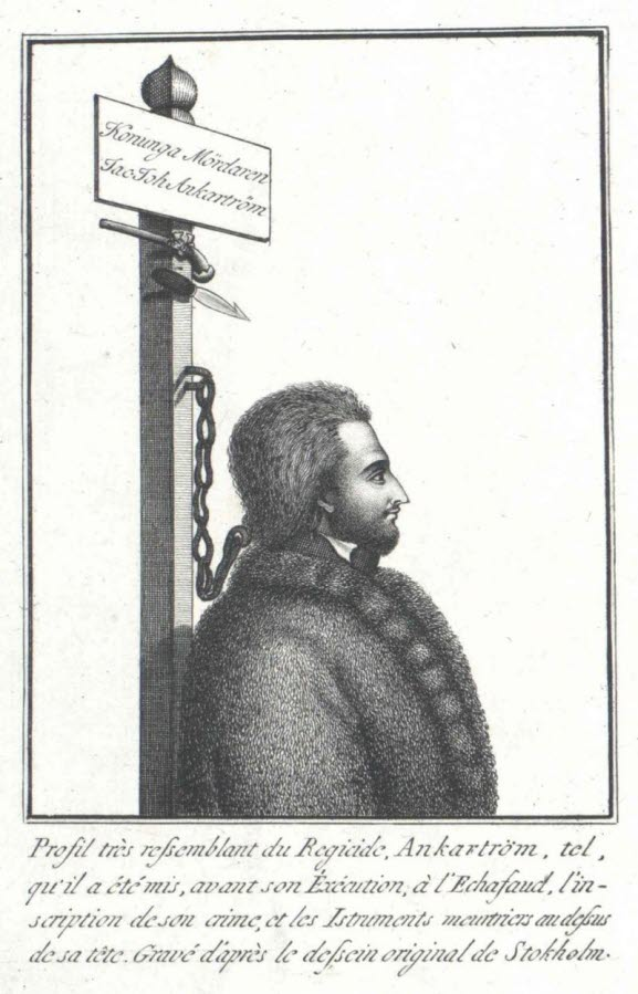 Captain Johan Anckaström chained in a neck rope