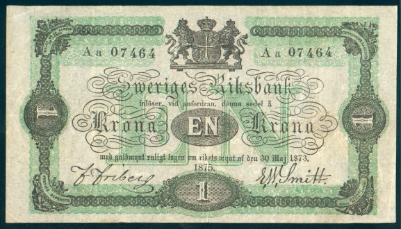 Picture of banknote where you see that it says 1- Krona