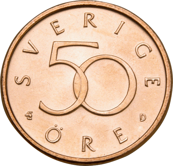 50-öre coin, the obverse front