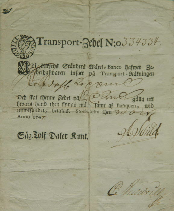Picture of an old transport banknote