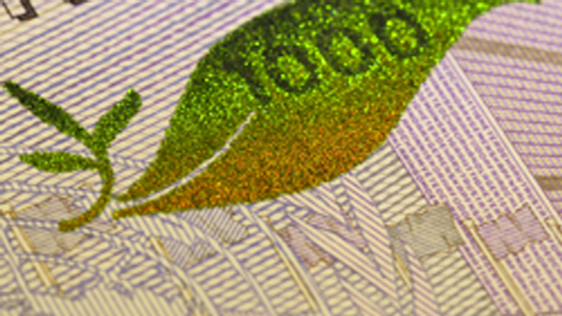 Colour-shifting image 1000-krona banknote