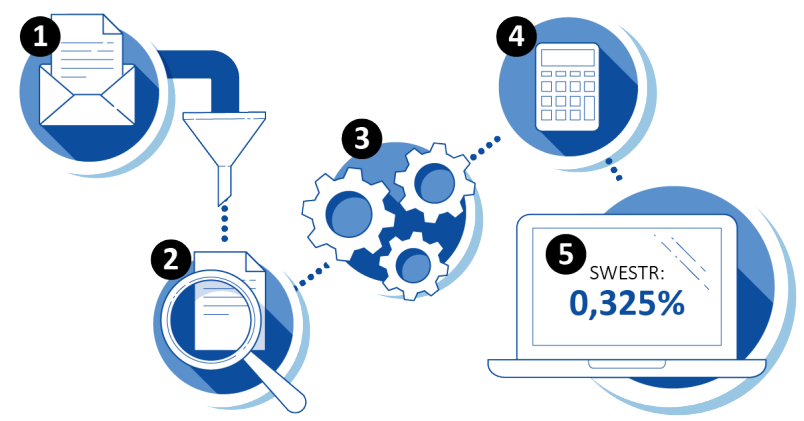 Illustration over the process for the publication of SWESTR. 1. Reporting, 2: Review, 3: Data processing, 4: Calculation, 5: Publication.