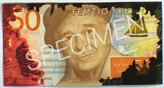 Colored 50-krona banknote